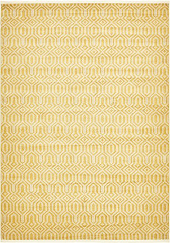 Modern Geometric 8 feet by 11 feet (8' x 11') Trellis Yellow Contemporary Area Rug