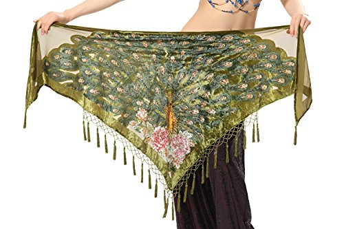 Tofern Tribal Style Peacock Triangle Beaded Fringe Belly Dance Hip Scarf Costume Shawl Wrap Belt with Tassel, Dark Green ()