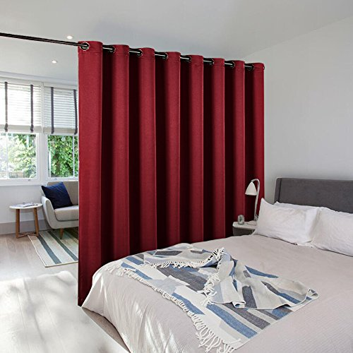 (NICETOWN Room Dividers Curtains for Christmas, Function Thermal Blackout Patio Door Curtain Panel, Sliding Door Insulated Curtains,Extra Wide Curtains, 8.3ft Wide x 7ft Long, Burgundy Red)