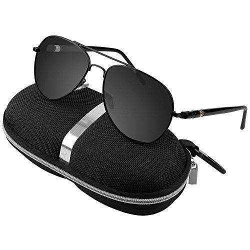 Aviator Sunglasses Polarized Men's Driving Glasses With Case Metal Frame TAC Lenses 58mm UV 400 Anti Reflective (Black, - Discount Glasses Military