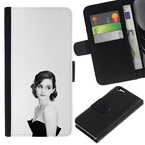 Funny Phone Case // Cuir Portefeuille Housse de protection Étui Leather Wallet Protective Case pour Apple Iphone 6 / Femme élégante /