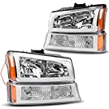 Headlight Assembly kit for 2003 2004 2005 2006 Chevy Avalanche Silverado 1500 2500 3500/2007 Chevrolet Silverado Classic Pickup Headlamp,Chrome Housing with Turn Signal Bumper Lamp,2 Year Warranty