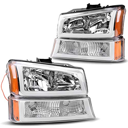 Headlight Assembly kit for 2003 2004 2005 2006 Chevy Avalanche Silverado 1500 2500 3500/2007 Chevrolet Silverado Classic Pickup Headlamp,Chrome Housing with Turn Signal Bumper Lamp