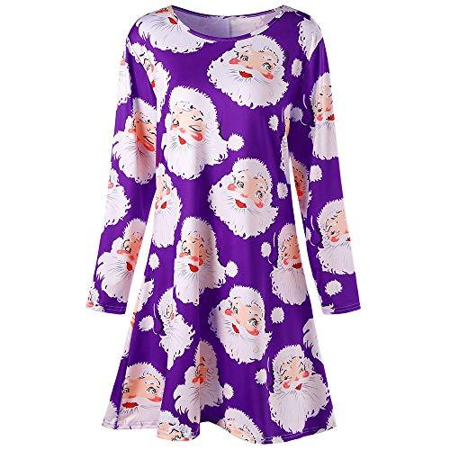 n's Vintage Dresses,Boho Maxi Santa Print Princess ()