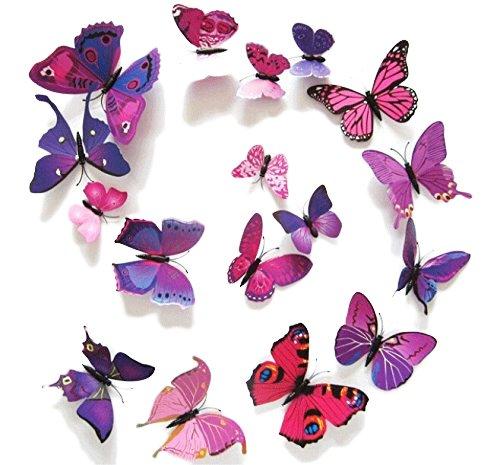 Fu Store 12pcs Beautiful Purple 3D Butterfly Stickers Making Stickers Wall Sticker Art Decor Decals