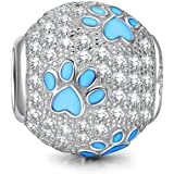 NINAQUEEN 925 Sterling Silver Charms Dog Puppy Paw Animal Bead fit for Pandöra Bracelets Pendant Necklace, Birthday for Women Teen Girls Kids Daughter Sister