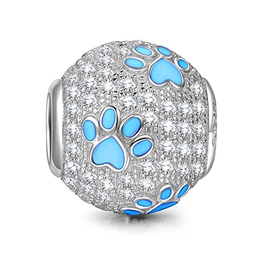 NinaQueen 925 Sterling Silver Cubic Zirconia Puppy Dog Paw Animal Footprints Charms