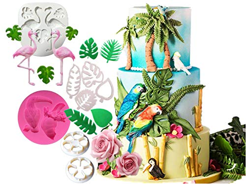 (DOYOLLA Hawaiian Tropical Rain Forest Theme Cake Fondant Mold Flamingo Parrot Pineapple Palm Leaves Coconut Tree Flowers Candy Chocolate Mold for Summer Luau Cake Decorating(Set of 8))
