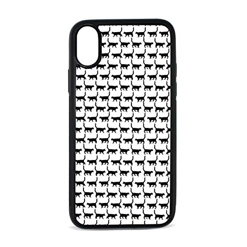 iPhone X case. Black Cats White (2) Shock Absorption TPU+PC+Pearl Plate Material Cover Case Drop Protection Multifunction Phone Case for iPhone X