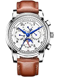 CARNIVAL Mens Complications Calendar Moon Phase 24-Hours Analog Automatic Mechanical Watch Calfskin Band (Brown...