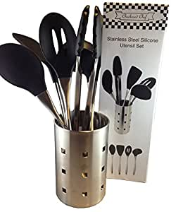 Checkered Chef Kitchen Cooking Utensil Set. Stainless Steel and Silicone Utensils with Metal Holder. Dishwasher Safe.