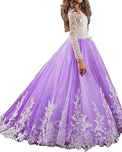 Pagent Dresses For Kids (Bonnie Lace Bodice Flower Girl Dresses for Wedding First Communion Dresses Girl's Pagent Ball Gowns BS002)