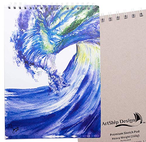 Sketchbook: Premium Hardcover Heavyweight (160g) Spiral Bound Gift Collectable (9x12 Wave)
