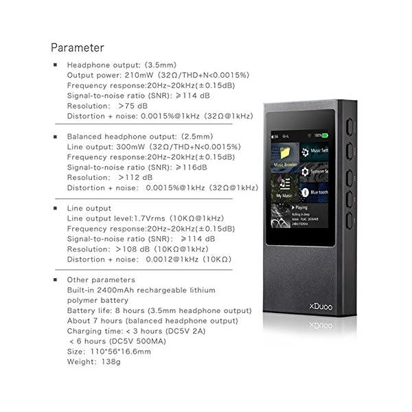 HiFi Mp3 Player xDuoo X20 Lossless Music DSD Aptx Bluetooth 4.1 High Fidelity Mp3 Player Black 4