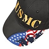 USMC Marines Embroidered Adjustable Baseball Cap with US Flag on the Bill (USMC (gold embroidery))
