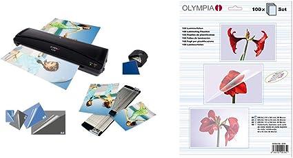 Olympia 4 in 1 Set A 230 Plastificadora A4 con fundas 80 mic, color negro + Juego des fundas para plastificar, 100 unidades varias: Amazon.es: Oficina y papelería