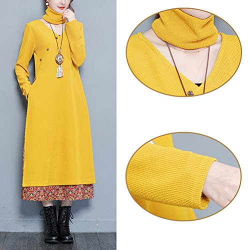 with Scarf Autunno Thicken Hem Dress Sleeves Donna Party Long Zhhlaixing Flora Dresses Chinese Women Style Abito for Yellow Long qwaSFT
