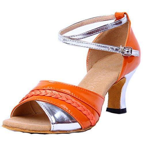orange Ballroom 39 Satin Ragazza Scarpe Latino Sandali Professionista Med Della Salsa Donne Dance Delle Colori Superiore Shoe altri xqxa1fSw