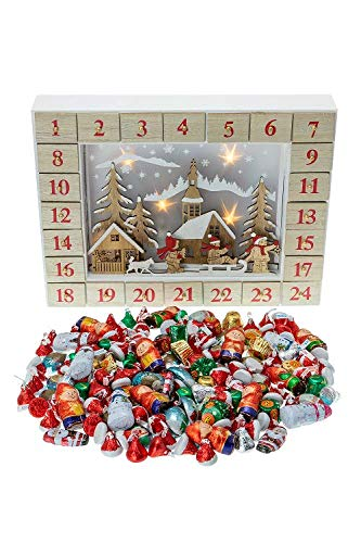 (Clever Creations Snowy Mountain Village 24 Day Wooden Advent Calendar - Premium Christmas Decor with Light Up Scene - Cute Holiday Decorations - Solid Wood Construction - 17 in x 4 in x 17.25 in)