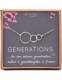 Generations Necklace for Grandma Sterling Silver 3 Interlocking Infinity Circles for Mom & Granddaughter Mothers Day Jewelry Gift