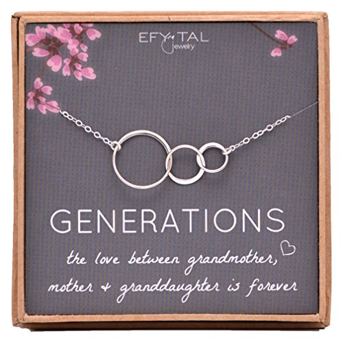 Generations Necklace for Grandma Sterling Silver 3 Interlocking Infinity Circles Mothers Day Jewelry Gift