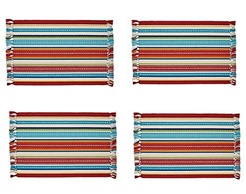 Design Imports Baja Cantina Cotton Southwest Table Linens, Placemats 13-Inch by 19-Inch, Set of 4, Baja Striped Fringed
