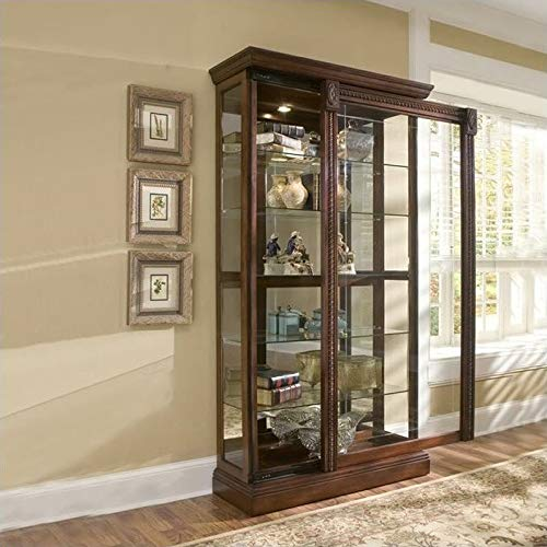 Pulaski Two Way Sliding Door Curio, 43 by 17 by 80-Inch, Medallion Cherry Finish, Brown ()