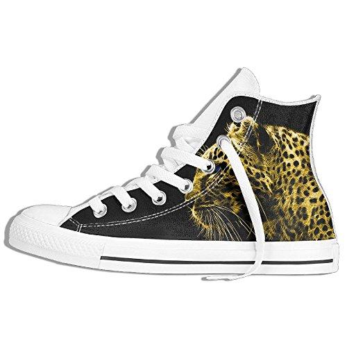 Classiche Sneakers Alte Scarpe Di Tela Anti-skid Leopard Casual Da Passeggio Per Uomo Donna Bianco