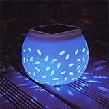 Lh&Fh Solar Decorative Lighting Hollow Ceramic Table Lamp Outdoor Garden Night Light