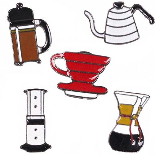 Coffee Pot Costume (Kalapure Tea Cups Pots Coffee Cups Collar Brooch Set Women Girls Jewelry Party (Coffee))