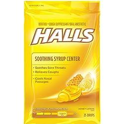 HALLS Cough Drops, (Honey-Lemon, 25 Drops, 12-Pack)