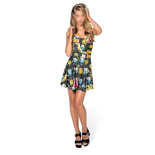 HEYG-Dress Vestir Moda Casual Vestido Plisado sin Mangas de Las ...