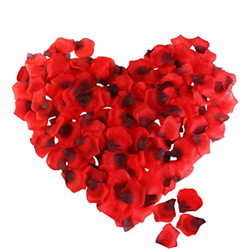 Rose Petals, ETEREAUTY 3000Pcs Red Silk Petals for Wedding, Romantic Night Party Decoration and Valentine's Day Dark Red ()