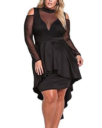 80497603d6e XAKALAKA Women s Plus Size High Low Sexy Mesh Bodycon Mini Night Club Dress  Black S