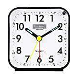 Peakeep Small Battery Operated Analog Travel Alarm Clock Silent No Ticking, Lighted on Demand and Snooze, Beep Sounds, Gentle Wake, Ascending Alarm, Easy Set (Black)