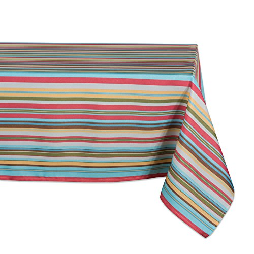 (DII 100% Polyester, Spill Proof, Machine Washable, Tablecloth for Outdoor Use, 60x120, Warm Summer Stripe, Seats 10 to 12)