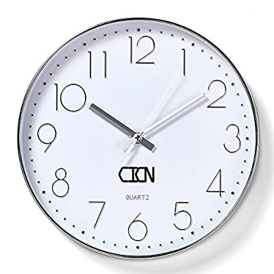 CICN Wall Clock 12'' Electroplating Silent Non Ticking Quality Quartz Battery Operated Wall Clock (Silver) - Aluminum pointer, clear stereo digital, silent scanning movement. Size: 12 inches;Thickness:45mm. Suitable for a variety of space, a variety of styles. - wall-clocks, living-room-decor, living-room - 51Qe37jLZqL. SS400  -