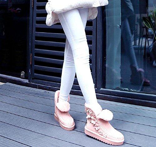 pelle moda 35 vera caldo PINK velluto Fatto mano agnelli lana scarpe fiori 39 più ragazze femminile alla neve a stivali 6Fwq4Txz
