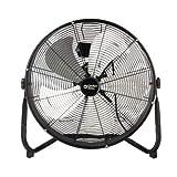 Comfort Zone CZHV20S High-Velocity Industrial 3-Speed Black Slim-Profile Drum Fan with Aluminum Blades