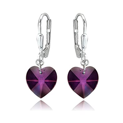 f9bcc0e5d Image Unavailable. Image not available for. Color: Sterling Silver Purple  Heart Dangle Leverback Earrings Made with Swarovski Crystals