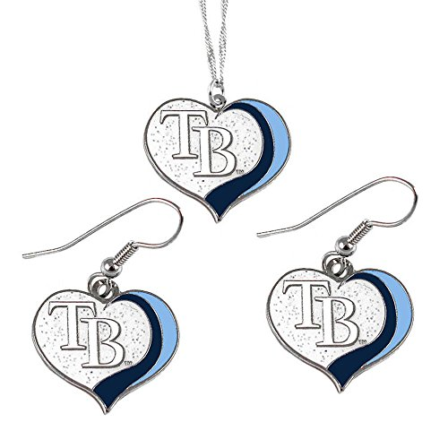 Tampa Bay Rays MLB Sports Team Logo Charm Gift Glitter Heart Necklace and Earring Set (Steel Necklace Mlb Stainless)