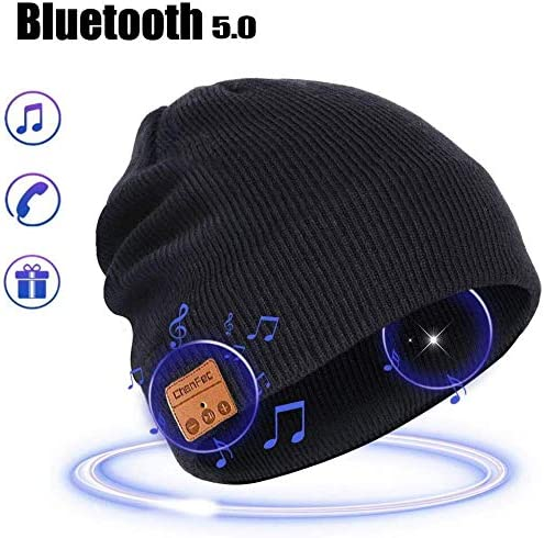 Bluetooth Beanie Hat, Wireless Men Women Outdoor Sports Beanie Music Hat with Stereo Headphone Headset Earphone Speaker Mic Hands Free Compatible with Smart Phones, Black
