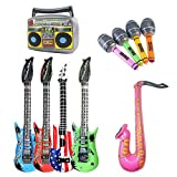 Inflatable Toy, Dsaren Novelty Stage Props Rock Star Guitars Microphone Saxophone Party Supplies for Kids Birthday, Concert, Festivals and Wedding, 10 Pcs (Randowm Color)