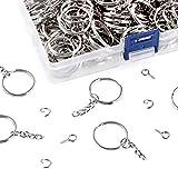 "Swpeet 450Pcs 1"" 25mm Sliver Key Chain Rings"