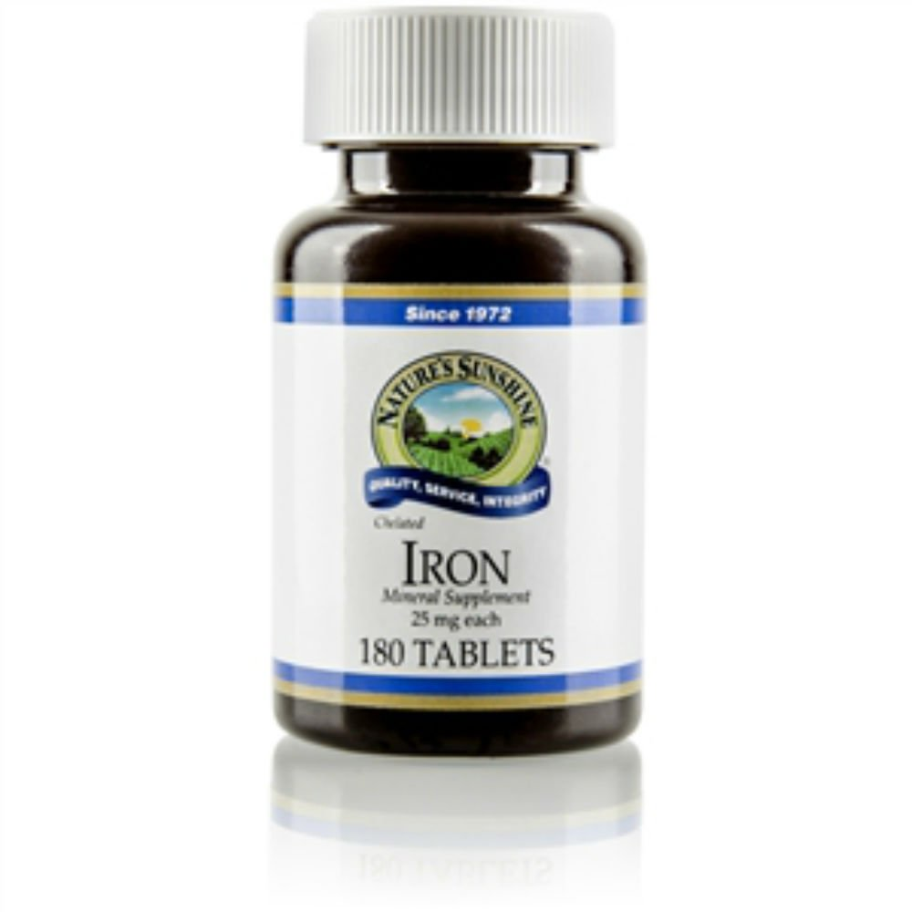 Naturessunshine Iron Chelated Mineral Supplement 25 mg 180 Tablets (Pack of 4)