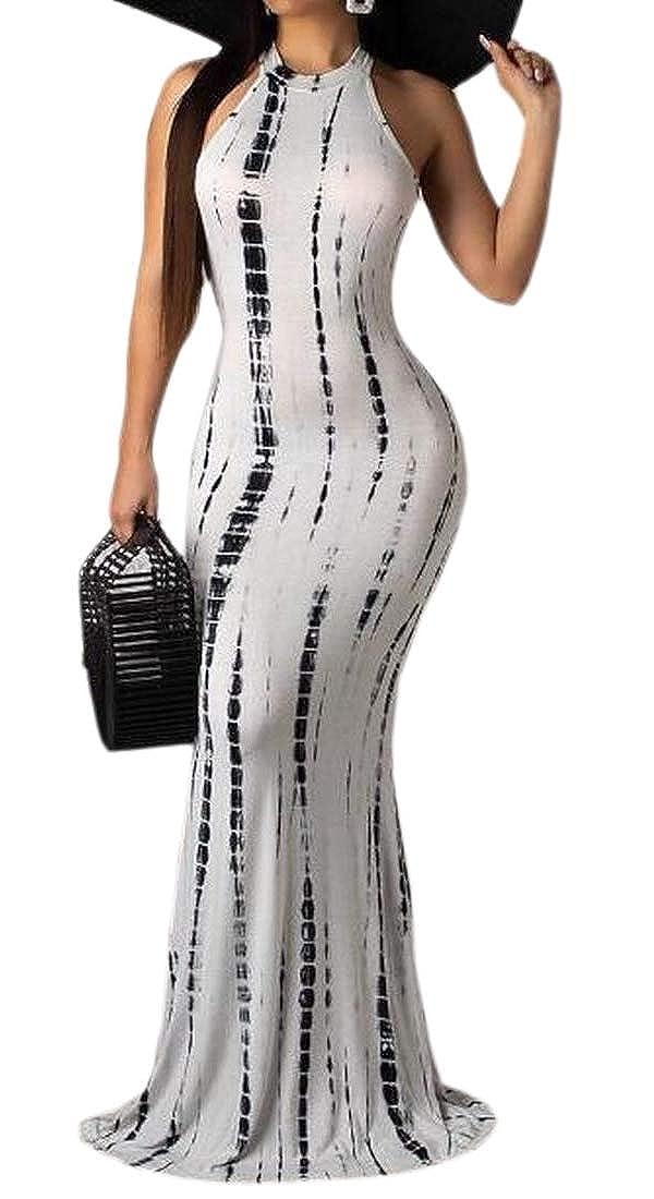 Amazon.com: yieg-mx Vestido de Fiesta Largo Mujeres tie dye ...