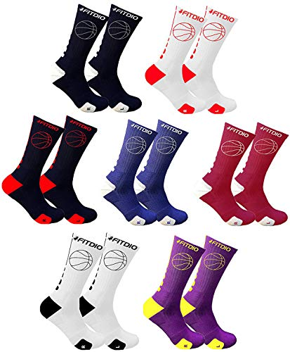 3/4 Crew Cushioned Athletic Basketball Compression Sports Socks For Men Women Boys Girls Youth (7-Pairs Assorted)