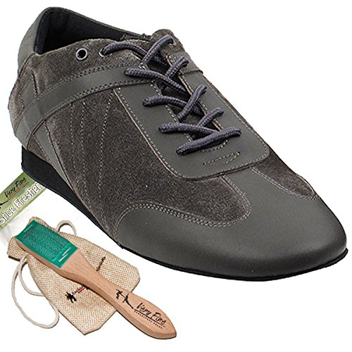 Mens Ballroom Latino Salsa Sneaker Scarpe Da Ballo In Pelle Sero106bbxeb Comodo - Molto Fine (pacchetto Di 5) Pelle Grigia E Pelle Scamosciata Grigia