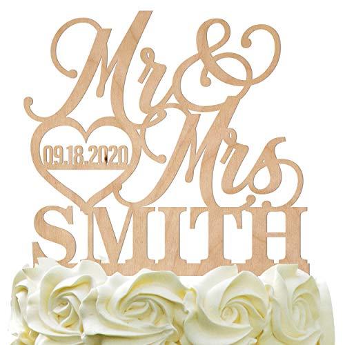 Personalized Wedding Cake Topper Wedding Cake Decoration Elegant Customized Mr Mrs Last Name Date With Heart Wood