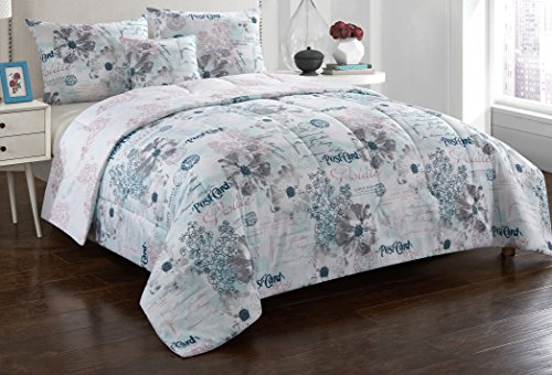 Casa Postcard Comforter Set, Full/Queen, Blue